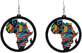 Zonfer Afrique Carte Boucles doreilles Goutte Pendentif en Bois Oreille Ringfor Femmes filles1 Paire