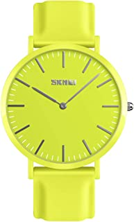 TONSHEN Simple Design Fashion Casual Analog Quartz Watch for Men and Women Multiple Colours Plastic Case with Rubber Band Dress Watches (Men Yellow)
