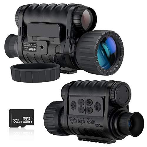 Monocular de visión nocturna, cámara de infrarrojos digital HD de 6 x 50 mm con LCD TFT de 1,5 pulgadas de alta potencia, fotos de 5 MP 720 video hasta 350 m/1150 pies de distancia de detección