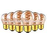 Vintage Edison Bombilla E27, Espiral G45 Bombilla de filamento LED Lámpara Regulable 3W / 2200K Lámpara Colgante Decorativa Para Candelabros, Lámparas de mesa, Lámparas de pared, Luz de techo,6pcs