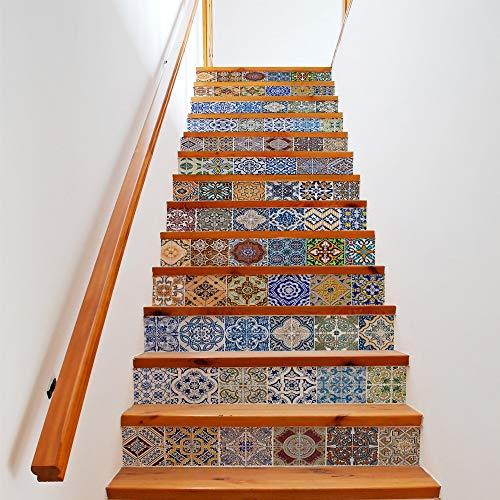 W-L Pegatinas de Escalera Simulación de Color Azulejos Creativo Simple Escalera Pegatinas Antiguos Antiguos de Bricolaje Escalera Pegatinas