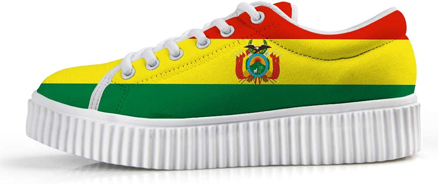Owaheson Platform Lace up Sneaker Casual Chunky Walking shoes Low Top Women Bolivia Flag National Emblem