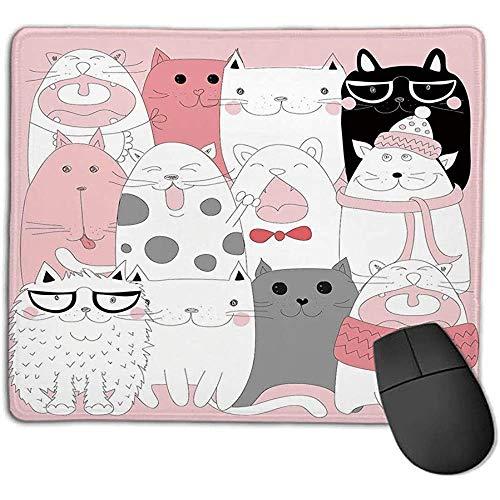 Muis Pad Bundel Kat Leuke Cartoon Kittens Collectie Grappige Lachende Bril Sjaals Doodle Humor Licht Roze Wit Zwart S
