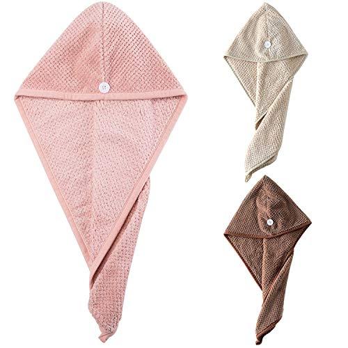 Ouinne 3 Piezas Gorro De Ducha, Toallas de Baño Turbante del Abrigo de Pelo Secado Rápido de Microfibra Suave Absorbentes de Agua Pelo