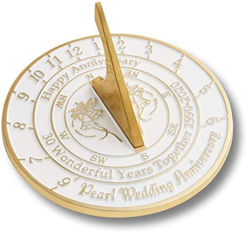 Antique Nauticals Cadran solaire 30ème anniversaire de mariage avec perles