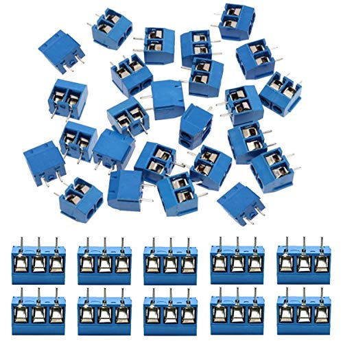 KeeYees 60pcs 5mm Pitch 2 Pin & 3 Pin PCB Mount Screw Terminal Block Connector for Arduino (50 x 2 Pin, 10 x 3 Pin)