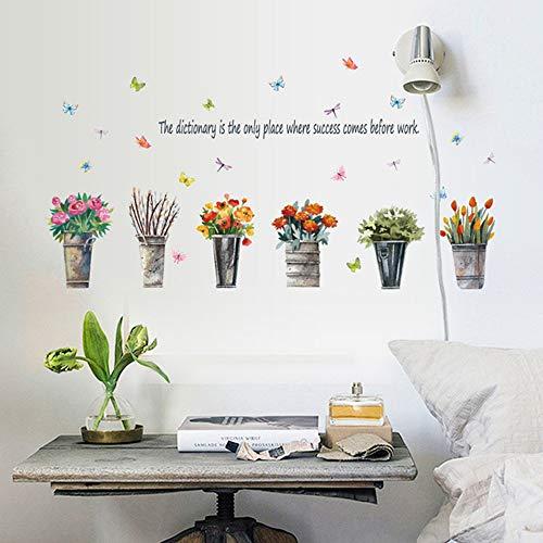 Muurstickers, creatieve retro ijzeren emmer potplanten bloemen muursticker woonkamer slaapkamer vensterbank glazen deur en raam decoratie sticker waterdicht vinyl sticker zelfklevend