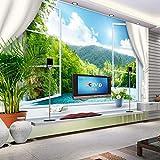 Papel tapiz mural personalizado 3D estereoscópico ventana paisaje Fondo pared murales papel tapiz para sala de estar fondo 3D