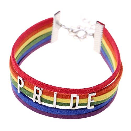 Ishow LGBT Armband für Damen und Herren, Wildlederimitat, Regenbogenfarben, mehrfarbig, gewebt
