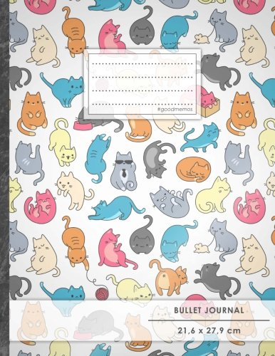 "Bullet Journal • A4-Format, 100+ Seiten, Soft Cover, Register, ""Verückte Katzen"" • Original #GoodMemos Dot Grid Notebook • Perfekt als Tagebuch, Zeichenbuch, Kalligraphie Buch"