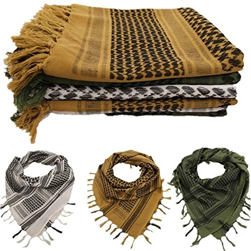 Custcolor 3Pack Men Military Scarf Cotton Shemagh Keffiyeh Tactical Desert Scarf Wrap