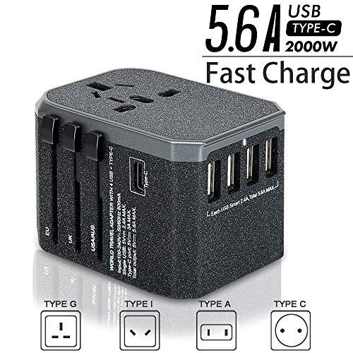 Reiseadapter Reisestecker Weltweit 224+ Ländern 5.6A Fast Charge Universal Travel Adapter mit 4 USB Ports+Typ C und AC Steckdosenadapter (Bereift)