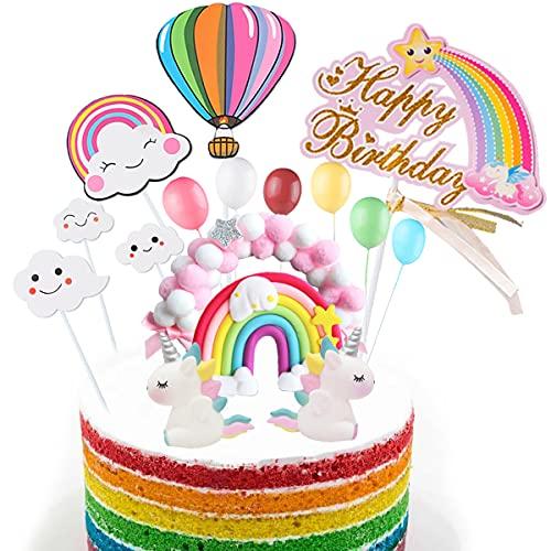 HONGECB Nuvola Palloncino Cake Topper, Decorazione Torta Unicorno Kit, Topper Torta di compleanno di Happy Birthday Arcobaleno, per Bambini Ragazze Compleanno Baby Shower Festa a Tema