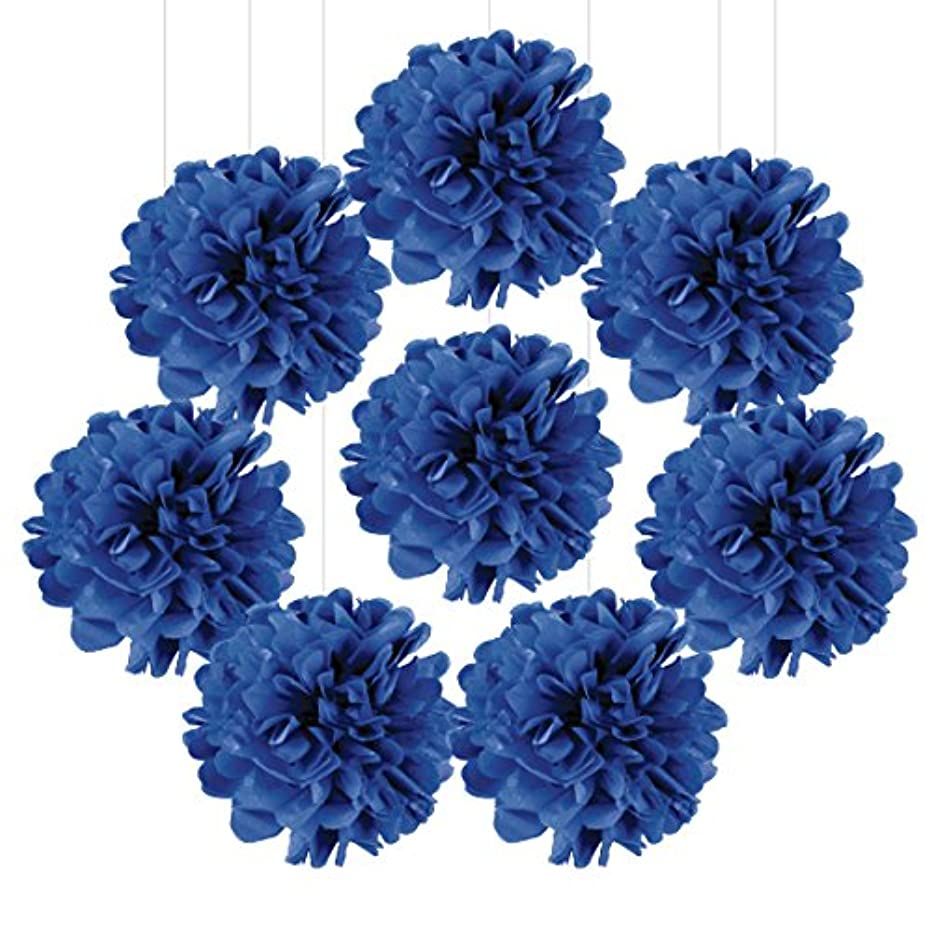 Andaz Press Tissue Paper Pom Poms Hanging Decorations, Royal Blue, 6-inch, 8-Pack, Blue Kids Party Colored Themed Decor