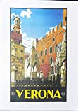 Verona - Retro Style Travel Poster Large Cotton Tea Towel