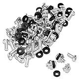 kwmobile Set de 50 tuercas enjauladas M6 con tornillos y separadores - Para montaje de equipos de red en armario rack de 10 y 19 pulgadas - en plateado