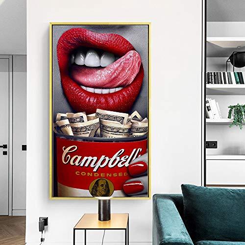 IHlXHZitat Poster Red Lip Frau Essen GelddruckenWand Ölgemälde Leinwand Bild Wohnzimmer Bar Büro Home Decoration A3 60x90 kein Rahmen