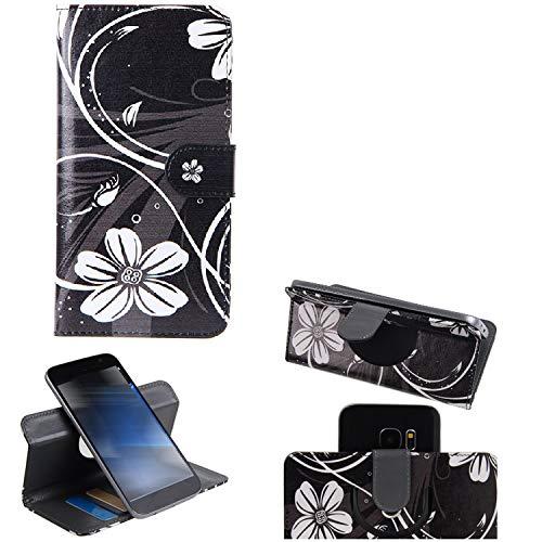 K-S-Trade Schutzhülle Kompatibel Mit Sharp Aquos C10 Hülle 360° Wallet Hülle Schutz Hülle ''Flowers'' Smartphone Flip Cover Flipstyle Tasche Handyhülle Schwarz-weiß 1x