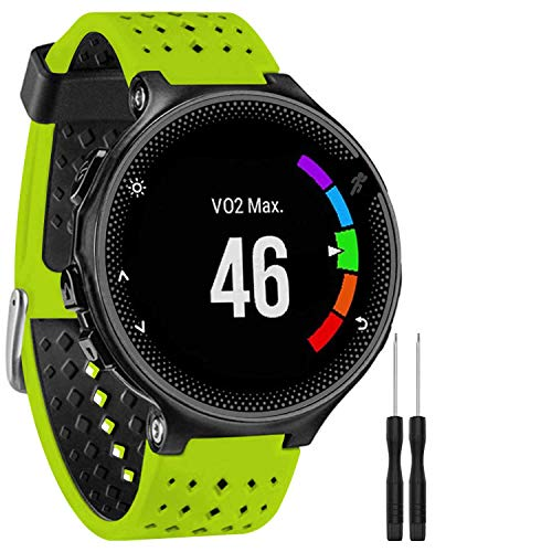 GVFM Band Compatible with Garmin Forerunner 735XT, Soft Silicone Replacement Watch Band Strap Band for 220/230/235/620/630/735XT/235 Lite Smart Watch for Women Men (Lime-Black)