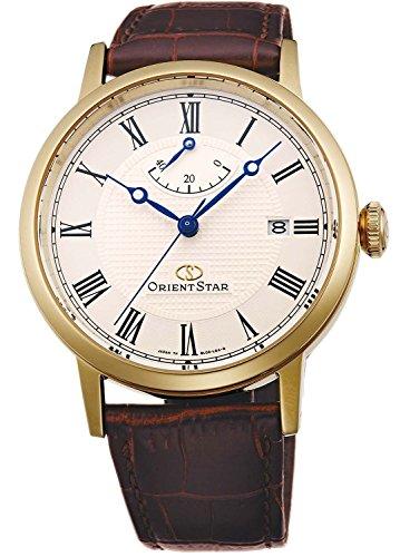 Orient Star Klassisch Herren Uhr Automatik Gangreserveanzeige Gold Gehäuse mit Leder Armband SEL09002W