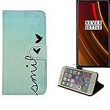 K-S-Trade® Schutzhülle Für OnePlus 6T McLaren Edition Hülle Wallet Case Flip Cover Tasche Bookstyle Etui Handyhülle ''Smile'' Türkis Standfunktion Kameraschutz (1Stk)