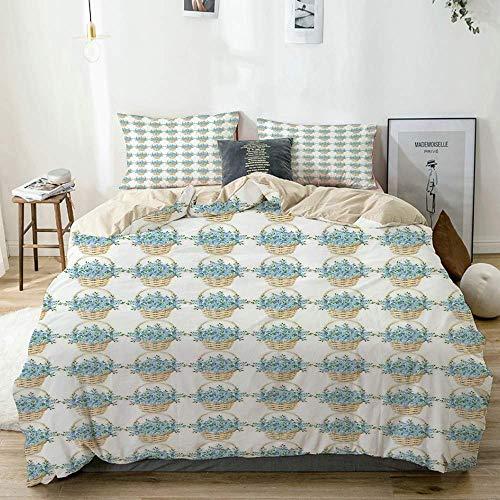 Set copripiumino beige, design in cesto di vimini con fiori che sbocciano durante la stagione primaverile, set di biancheria da letto decorativo in 3 pezzi con 2 fodere per cuscini Easy Care anti-alle