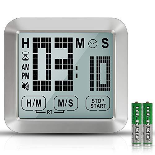 XREXS Temporizador Digital de Cocina con Pantalla Táctil, 3,46'' Gran pantalla LCD, Reloj Digital, Alarma Alta, Temporizador para Cocinar, Fitness, Reuniones, Retroiluminado (Batería Incluida)