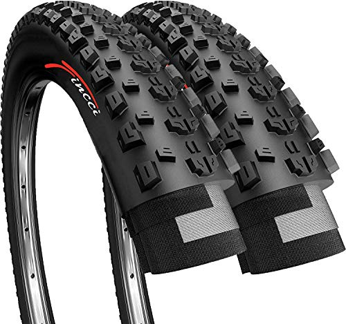 Fincci Pair 26 x 1.95 Inch 53-559 Foldable 60 TPI All Mountain Enduro Tires for MTB Hybrid Bike Bicycle - Pack of 2