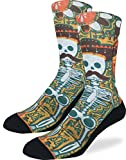 Good Luck Sock Men's Skeleton Mustache Crew Socks - Yellow, Adult Shoe Size 8-13