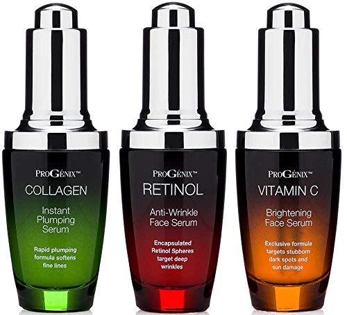 Progenix Professional Skin Care Set. Anti-aging serum set contains Collagen Serum, Retinol Serum, Vitamin C Serum. Helps with the appearance of wrinkles, plump skin, and brighten skin. 1oz each.