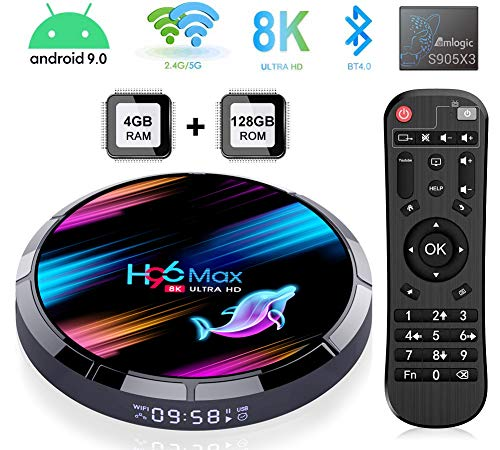 H96 Max X3 TV Box Android 9.0, 4GB 128GB 4K/8K Smart TV Box Amlogic S905 X3 Chipset Support H265 VP9 Video Decoding 2.4G 5GWifi 1000M LAN USB3.0 Android TV Box