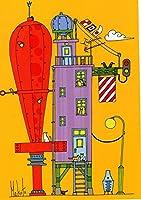 ねこの引出し 画家・イラストレーター佐久間真人さんのポストカード ★「猫の家」