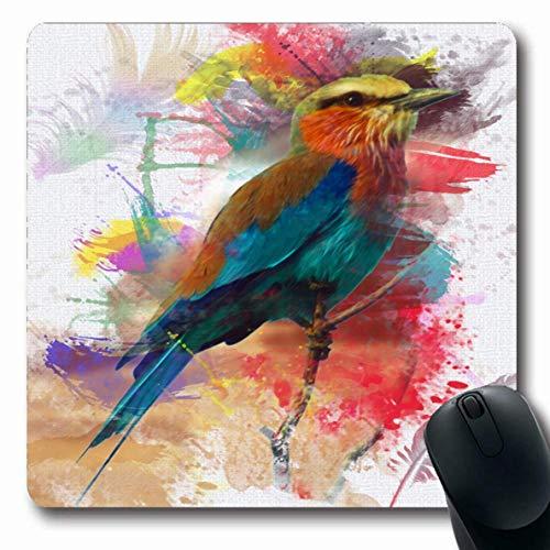Jamron Mousepad OblongAbstract Bird Colorfull Animal Feather Splatter Paint Ala natural Lila Animales Fauna artística Antideslizante Goma Alfombrilla de ratón Ordenador de oficina Ordenador portátil J