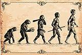 Human Evolution Concept Vintage Illustration Cool Wall Decor Art Print Poster 18x12