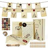 Wishstar Calendario dell'avvento, 24 Bustine Regalo Natale, con 1-24 Adesivi Numerici, Sacchetti Regalo Sacchetti di Caramelle, 24 Clip e Corda di Canapa