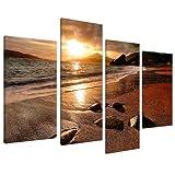 Wallfillers Cuadros en Lienzo Grande Amanecer Playa Set de Imágenes XL Pared sala de Estar 4131...