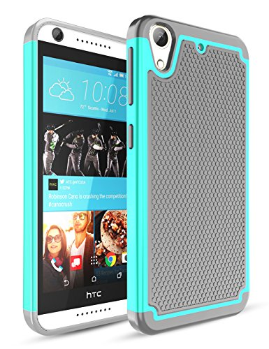 TILL HTC Desire 626 Case,Desire 626S Case, [Shockproof] Hybrid Dual Layer Rubber Plastic Impact Armor Defender Hard Protective Case Cover for HTC Desire 626 / 626s All Carrier - Turquoise/Grey