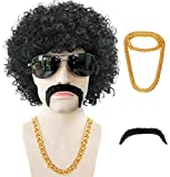 Anogol Wig + { 1 Gold Necklace + 1 Black Beard } Short Black Curly Wig for Men Synthetic Wig for 80s Disco Wig