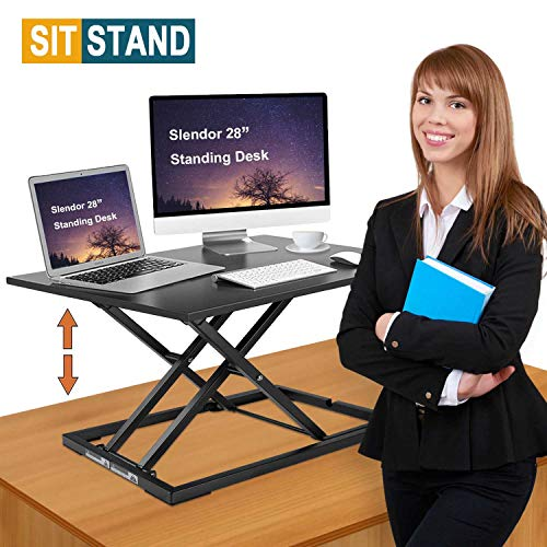 Standing Desk Stand Up Desks Height Adjustable 28 inch Sit Stand Converter Dual Monitor Ergonomic Air Riser Laptop Stands Large Rising Desktop Computer Table Workstation Foldable Extender Home Office