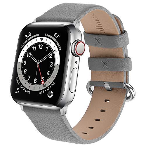 Fullmosa kompatibel mit Apple Watch Armband 41mm 40mm 38mm, Lederband Ersatzband für Damen Herren, Klassische Leder Armbänder für iWatch 7/6/SE/5/4/3/2/1 Armband,Grau 38/40/41mm