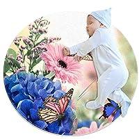 エリアラグ軽量 蝶アジサイデイジー フロアマットソフトカーペット直径31.5インチホームリビングダイニングルームベッドルーム