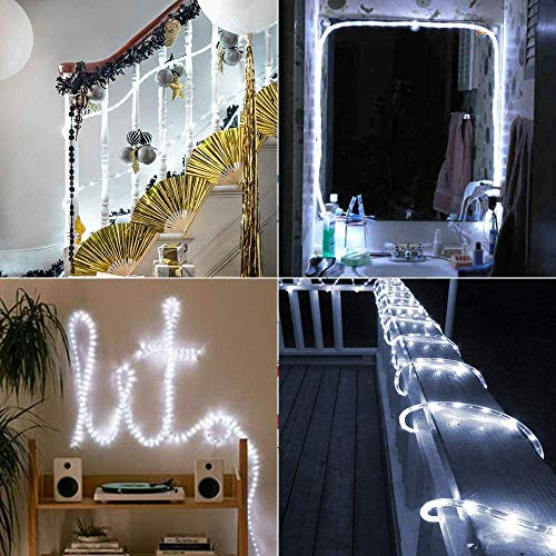 LED Solar String Light PVC Rope Outdoor 100 LED 33ft Waterproof for Holiday Christmas Party Home Yard Patio Road Tree Balcony Decoration Rope Lights (Cool White)