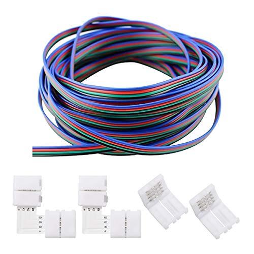 ZITFRI Striscia Led da 12 m 10mm 2 Connettori Strisce Led a L 2 connettore 4 pin per 5050 3528 RGB LED Set di Connettori Striscia Led Cavo Rgb Prolunga