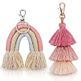 2 Pieces Boho Rainbow Keychains Pom Pom Tassel Macrame Keychains for Women Girls (Fresh Color)