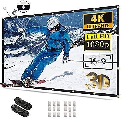 Projector Screen 120 inch 16:9 4K HD Foldable A...