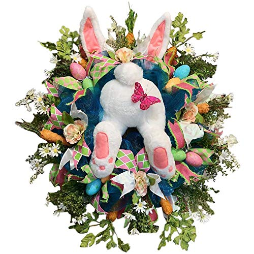 Hiser Easter Wreath Bunny Easter Door Decoration Rabbit Butt Wreath Kit,Spring Wreath Easter Garland Easter Wreaths for Front Door for Decor Indoor and Outdoor (butterfly,50 * 40cm)