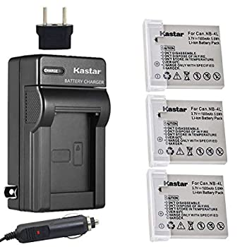 Kastar Battery  3-Pack  and Charger Kit for Canon NB-4L CB-2LV work with Canon PowerShot SD40 SD30 SD200 SD300 SD400 SD430 SD450 SD600 SD630 SD750 SD780 IS SD940 IS SD960 IS SD1000 SD1100 IS SD1100 IS SD1400 IS TX1 ELPH 100 HS ELPH 300 HS ELPH 310 HS ELPH 330 HS VIXIA mini Cameras