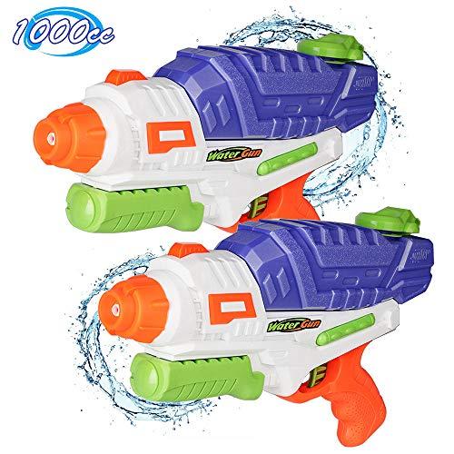 Gimsan Wasserpistole Spielzeug, 1000ML Spritzpistolen für Kinder Erwachsene Groß Wasserspritzpistolen 8-10 Metern Langer Reichweiter, 2 Stück