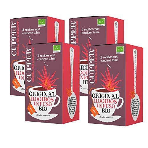 Cupper Infuso Rooibos Biologico (4 confezioni da 20 bustine di tè, totale 80 bustine di tè)