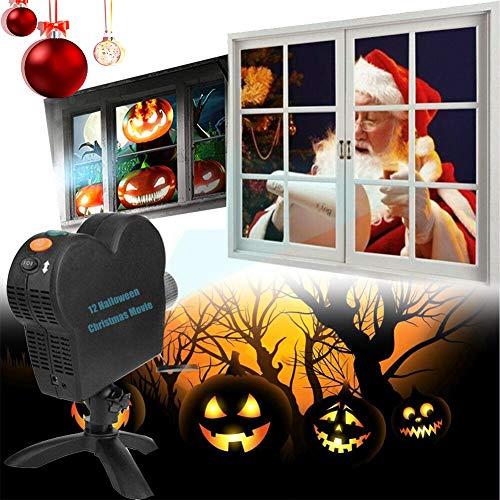 Window Projector Exterior Navidad, Proyector Luces Navidad LED Impermeable Lámpara Luces Proyección 12 Movie para Decoración Fiesta Jardín Halloween[Clase De Eficiencia Energética A++]